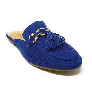 Women Denim Mules With Tassels, HK-7082, Blue
